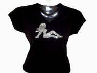 Mudflap Trucker Girl Swarovski Crystal Rhinestone T Shirt Tank Top