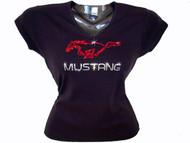Ford Mustang Running Horse Logo Swarovski Crystal Rhinestone T Shirt