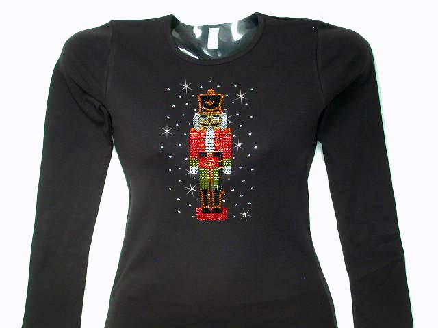 Christmas nutcracker swarovski crystal rhinestone for Swarovski crystal t shirts