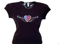 Fourth of July patriotic flag heart Swarovski rhinestone t shirt
