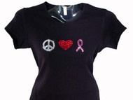 Peace Love Pink Ribbon Swarovski Crystal Rhinestone T Shirt