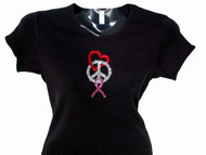 Peace Love Pink Ribbon Swarovski Rhinestone Bling T Shirt