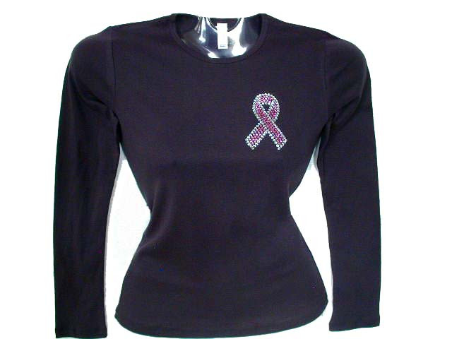Pink ribbon breast cancer survivor swarovski rhinestone t for Swarovski crystal t shirts