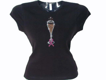 Pink Ribbon Breast Cancer Champagne Glass Swarovski Rhinestone T Shirt