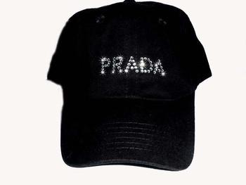 Prada inspired rhinestone baseball cap
