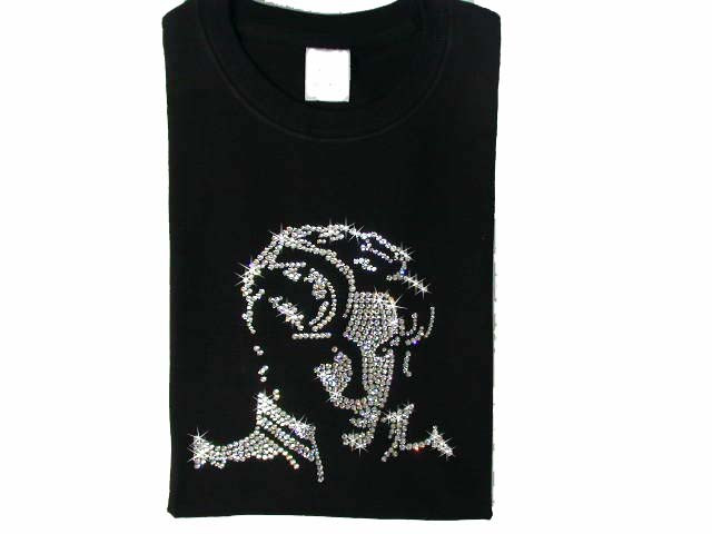 Prince face bling swarovski studded rhinestone t shirt for Swarovski crystal t shirts