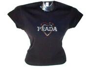 Prada Inspired Heart Swarovski Crystal Rhinestone T Shirt