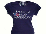 Proud to be an American Swarovski crystal rhinestone bling t shirt