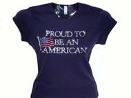 Proud to be an American Swarovski crystal rhinestone bling t shirt