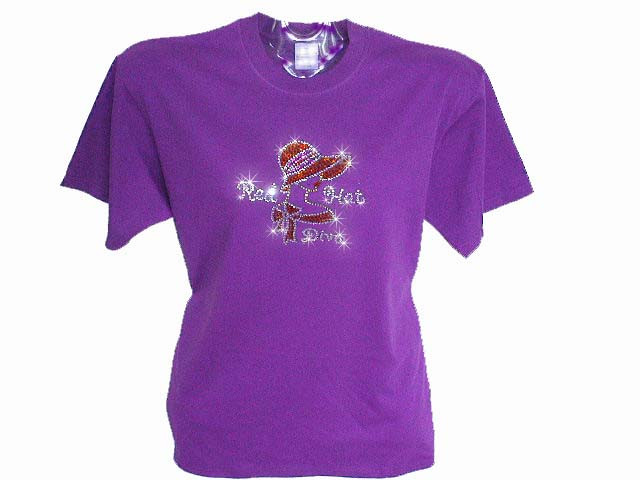 Red hat society lady diva swarovski crystal rhinestone t for Swarovski crystal t shirts