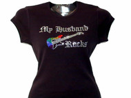My Husband Rocks Bling Guitar Rhinestone T Shirt