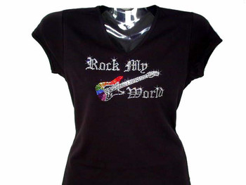 Rock My World Swarovski Crystal Rhinestone T Shirt
