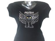 Rush Owl Logo Swarovski Crystal Rhinestone Bling T Shirt