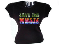 Save The Music Swarovski Crystal Rhinestone T Shirt