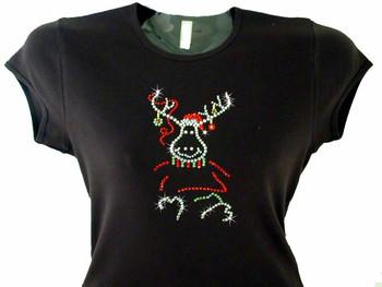 Christmas Reindeer Bling Swarovski Rhinestone T Shirt