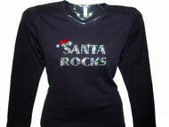 Santa Rocks Bling Swarovski Rhinestone Studded T Shirt