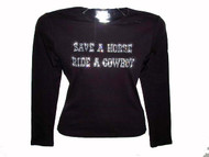 Save A Horse Ride A Cowboy Swarovski Crystal Rhinestone Ladies T Shirt