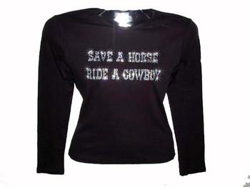 Save A Horse Ride A Cowboy Swarovski Crystal Rhinestone Ladies T Shirt