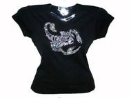 Scorpion Swarovski Crystal Rhinestone Ladies T Shirt