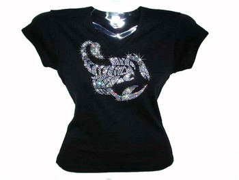 Scorpion Swarovski Crystal Rhinestone Ladies T Shirt