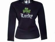 Lucky Shamrock St. Patrick's Day Rhinestone T Shirt