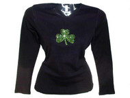 Shamrock Rhinestone T Shirt For St. Patrick's Day