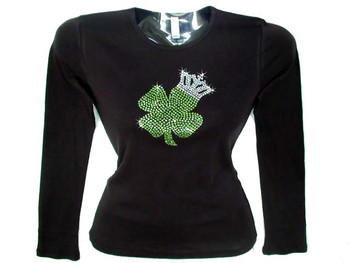 St patrick 39 s day shamrock crown swarovski rhinestone t for Swarovski crystal t shirts