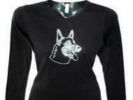 German Shepherd Dog Swarovski Rhinestone T Shirt