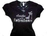 "Sex And The City ""Single And Fabulous"" Swarovski Crystal T Shirt"