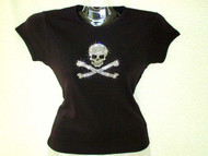 Halloween Skull and Crossbones Swarovski Crystal Rhinestone T Shirt
