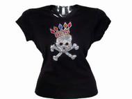 Skull & Crossbones Crown Swarovski Rhinestone T Shirt