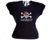 Skull & Crossbones Pirate Gasparilla Rhinestone T Shirt