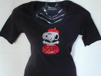 Halloween Snoopy Pumpkin Bling Rhinestone T Shirt