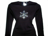 Holiday Winter Snowflake Swarovski Crystal Rhinestone T Shirt