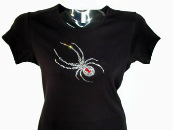 Bling Halloween Spider Swarovski Crystal Rhinestone T Shirt