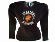 Italion Stallion Rocky Balboa Swarovski Crystal Rhinestone T Shirt