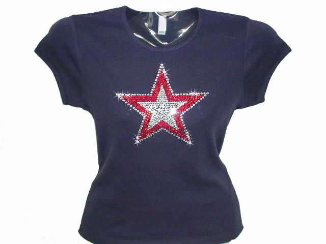 Patriotic star swarovski crystal rhinestone studded t shirt for Swarovski crystal t shirts