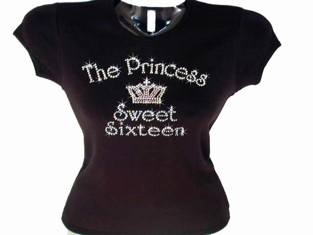 Sweet sixteen princess crown swarovski crystal rhinestone for Swarovski crystal t shirts