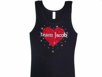 Team Jacob or Edward Twilight Bling Swarovski Rhinestone T Shirt