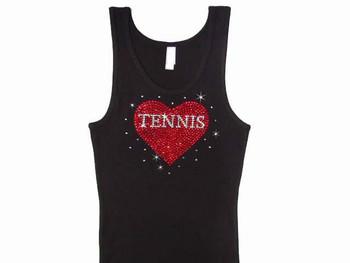 Tennis Heart Rhinestone T Shirt Tank Top