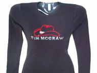 Tim McGraw Cowboy Hat Swarovski Crystal Rhinestone Concert T Shirt