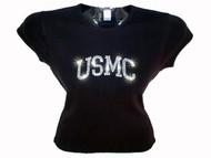 USMC United States Marine Corps Swarovski Rhinestone Military T Shirt