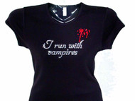 Bling Twilight Breaking Dawn I Run With Vampires Swarovski Rhinestone T Shirt