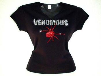 Halloween Venomous Spider Swarovski Crystal Rhinestone T Shirt