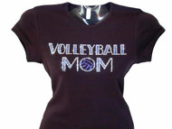 Volleyball Mom Rhinestone Bling T  Shirt