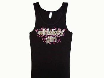Whiskey Girl Bling Swarovski Rhinestone T Shirt
