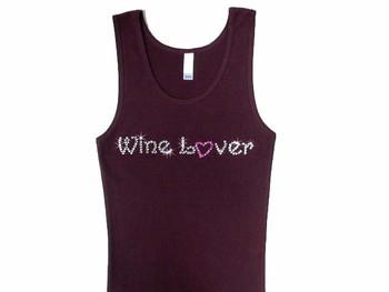 Wine Lover Swarovski Rhinestone T Shirt Tank Top