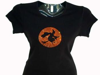 Halloween Witch Swarovski rhinestone t shirt