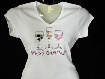 Who's Counting? Wine Rhinestone T Shirt