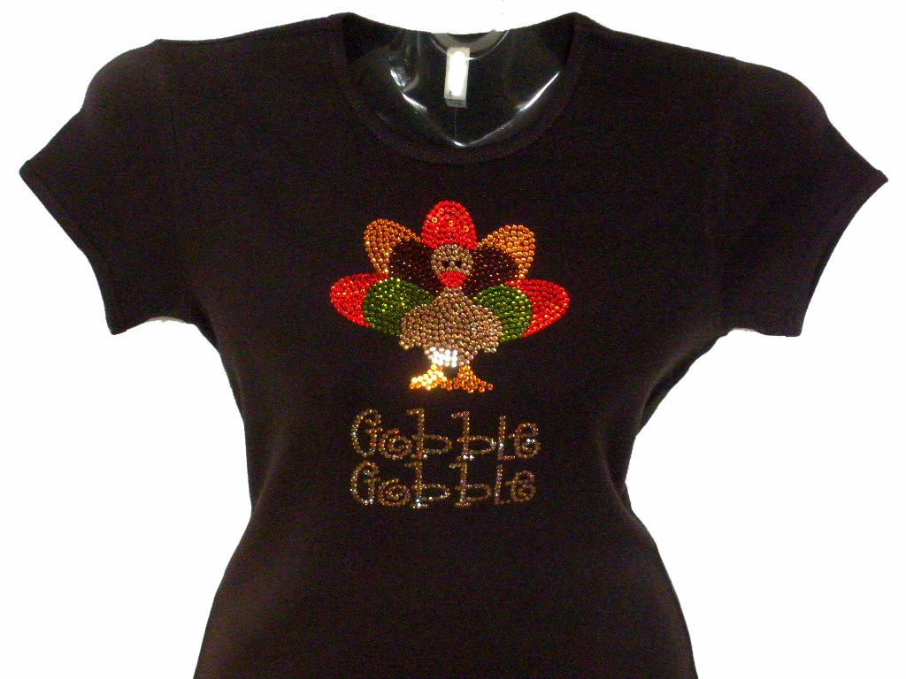Swarovski crystal thanksgiving turkey gobble rhinestone t for Swarovski crystal t shirts